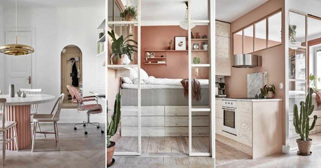 Amenajare practică cu lemn de mesteacăn și tonuri deschise de teracotă într-un apartament de 48 m²