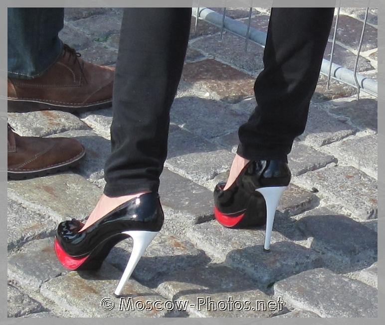 Black-White Ultra High Heels Shoes