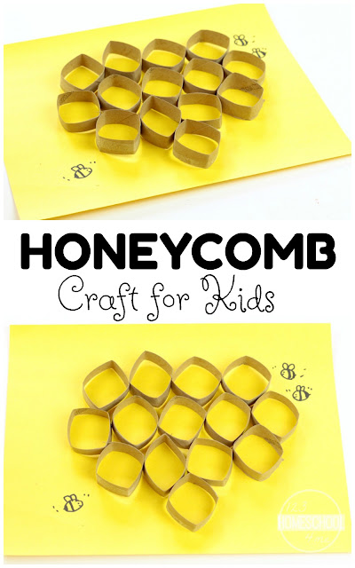 Honeycomb Craft - love this super cute 3D honeycomb craft for kids to learn about bees or celebrate National Honey Month, spring craft, or summer craft for kids toddler, preschool, prek, kindergarten, first grade.