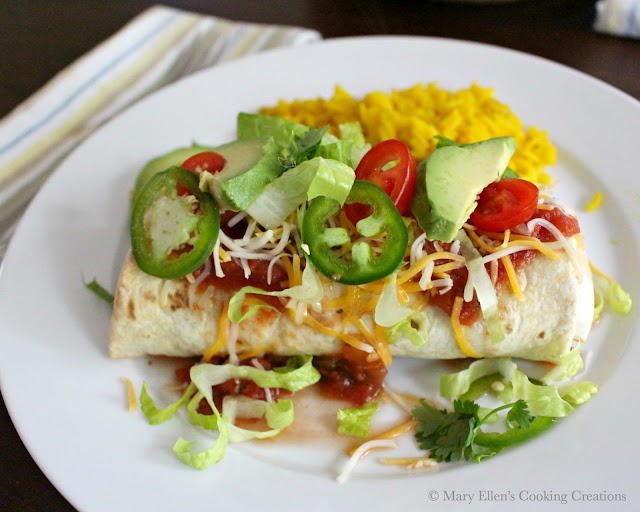 Oven Baked Beef and Bean Burritos for a weeknight or celebration. Great dinner for Cinco de Mayo! Ground beef, beans, salsa, and toppings in crispy, oven-baked burritos.