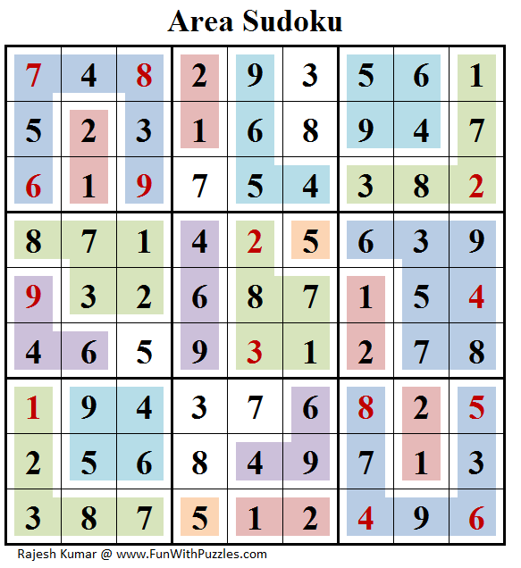 Area Sudoku (Daily Sudoku League #155) Answer