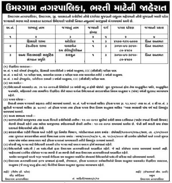 Umargam Nagarpalika Various Recruitment 2016