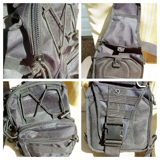 GearBest Crossbody Sling Bag - A four picture collage of double zipper, shoulder strap and magic tape.