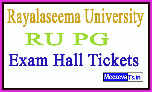 Rayalaseema University RU PG Exam Hall Tickets