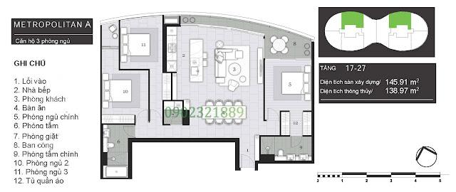 Tháp Pormenade căn hộ City Garden: Metropolitan A - 3 Phòng ngủ