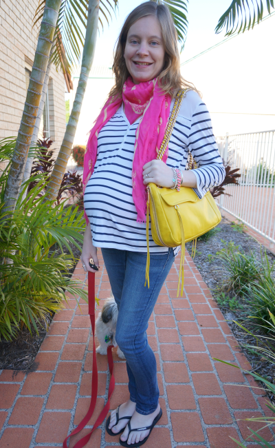 3rd trimester striped tee maternity skinny jeans outfit bright pink yellow accessories