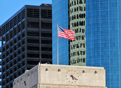Old Glory and Clock Dial on top of City Hall - Downtown Houston Texas