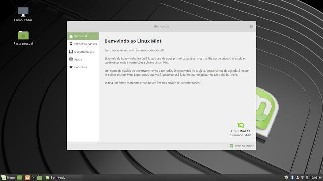 Linux Mint 19 tela de boas-vindas