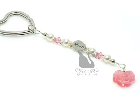 Pink Mother of Pearl Rose Mom Pearl Beaded Keychain (K100)
