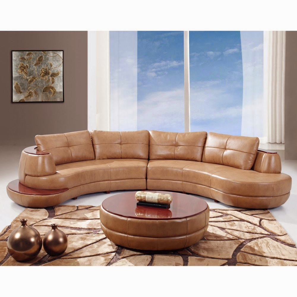 Curved Loveseat: Contemporary Curved Leather Sectional Sofa