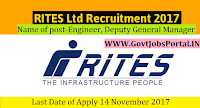 RITES Limited Recruitment 2017– 23 Engineer, Deputy General Manager