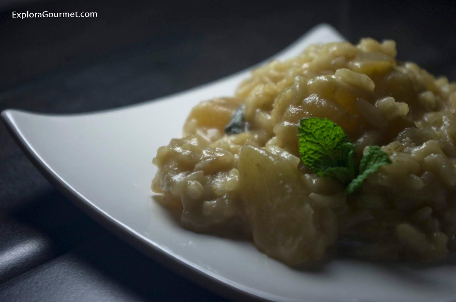 risotto con pera y queso azul
