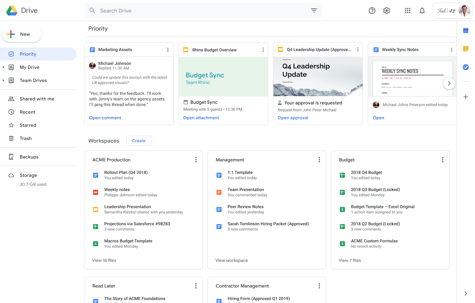 Work smarter with the new Priority page in Drive