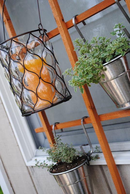 Plants and candles on the trellis