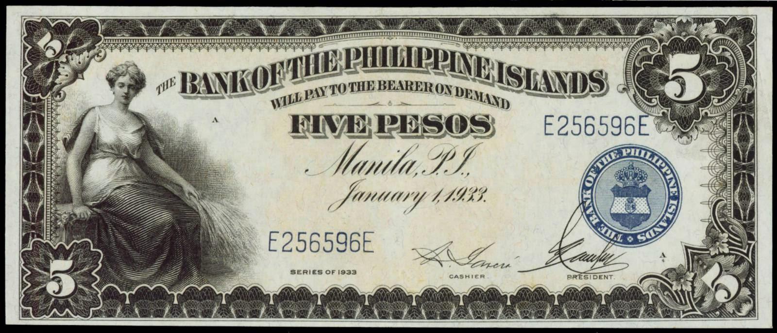 Philippines banknotes 5 Pesos Philippine Note 1933