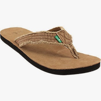 Sanuk Fraid Not Men's Sandals with a frayed strap.