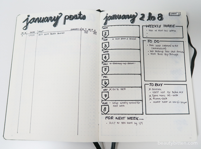 bullet journal weekly spread idea