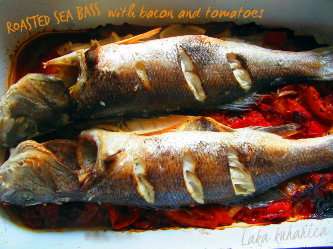 Roasted sea bass with bacon and tomatoes by Laka kuharica: simple oven-roasting preserves the delicate flavor of sea bass.