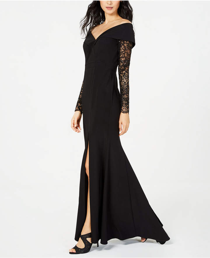 Xscape Petite Off-The-Shoulder Lace-Sleeve Gown