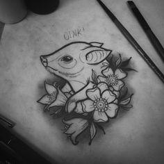 hình xăm con lợn nhỏ xinh cho nữ dễ thương ở vai, ngực tattoo pig