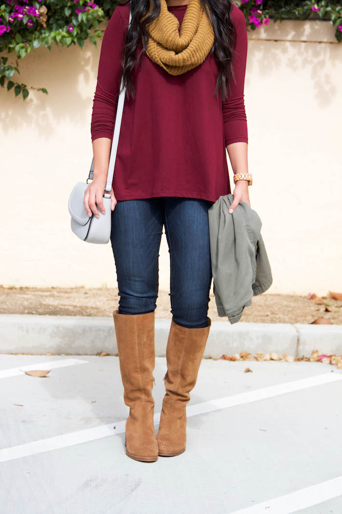 Riding Boots + Skinnies+ Maroon Tunic + Tan Scarf