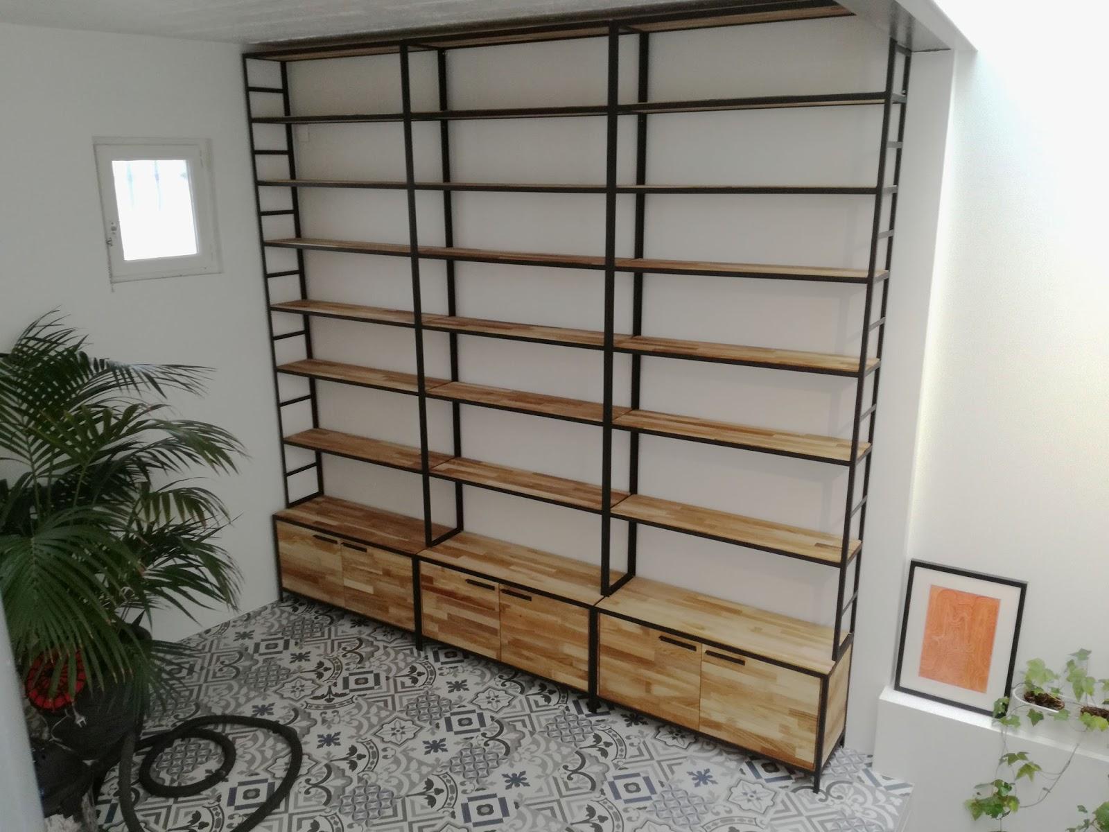 Biblioth Que M Tal Et Bois Style Industriel # Exemple De Bureau Bibliotheque En Chene Massif