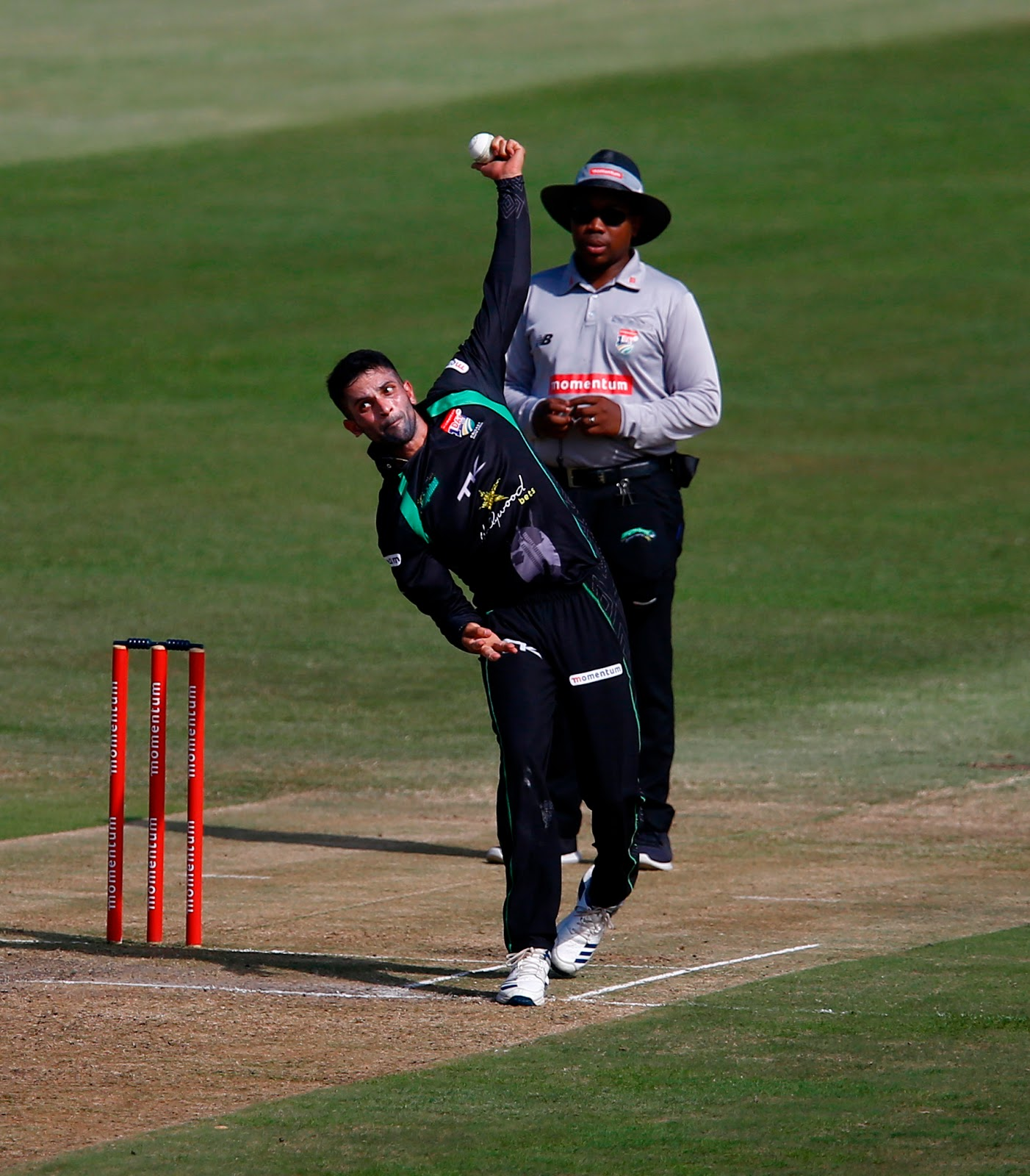 Keshav Maharaj bowling for the Hollywoodbets Dolphins - Copyright Steve Haag