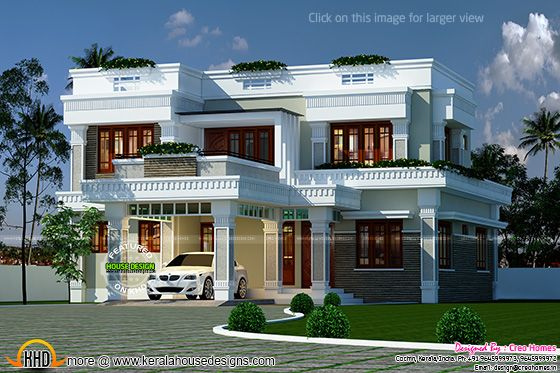Decorative flat roof home plan