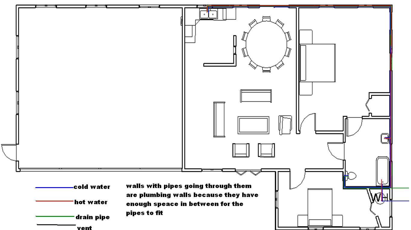 created a plumbing plan to document our design we added pipes that bring water to the house and a heater that distributes hot water thorough the house  [ 1366 x 767 Pixel ]