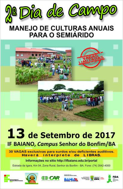 Educação: 2° Dia de Campo- IF Baiano Senhor do Bonfim acontecerá dia 12 de setembro