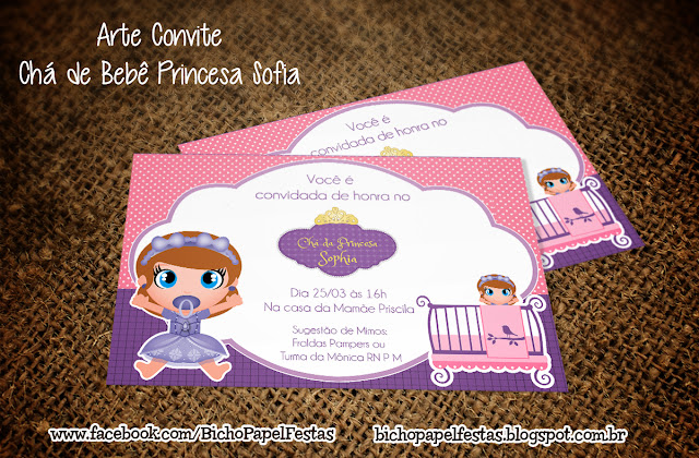 Convite Chá de Bebê Princesa Sofia