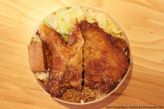 Fried Chicken Leg Bento Box at Taiwan Bear House