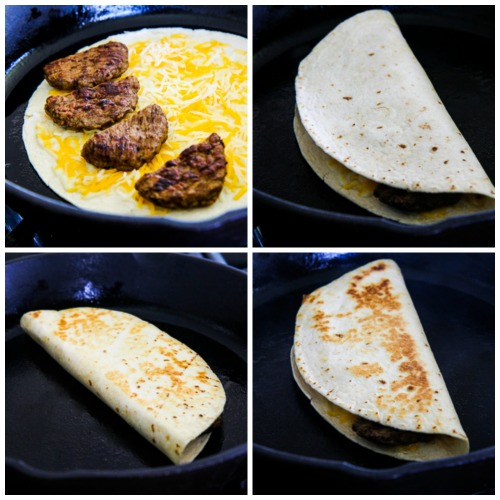 Low-Carb Sausage and Cheese Breakfast Quesadillas found on KalynsKitchen.com