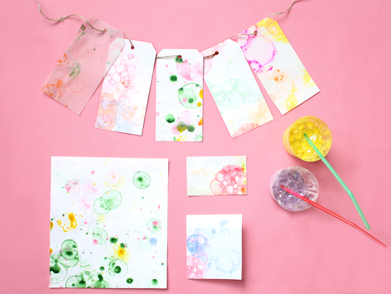 bubble art cards gift tags