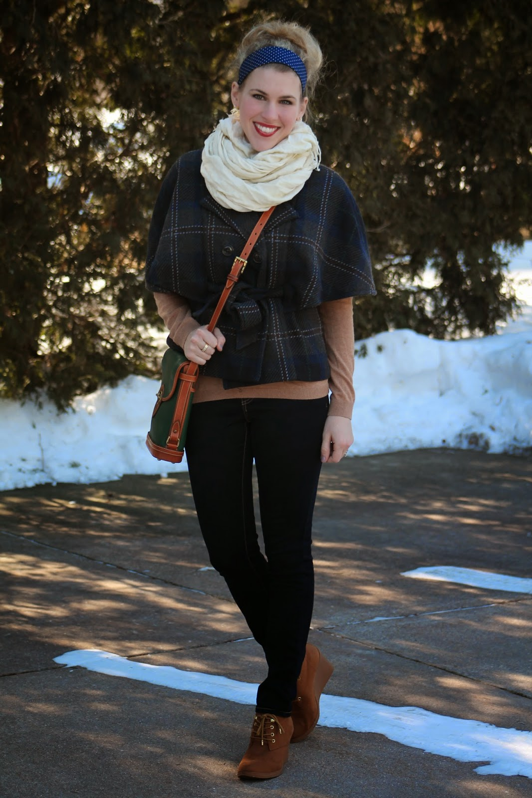 headband and plaid cape