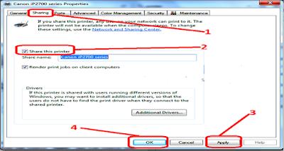 Cara mudah share atau berbagi fasilitas printer di windows 7