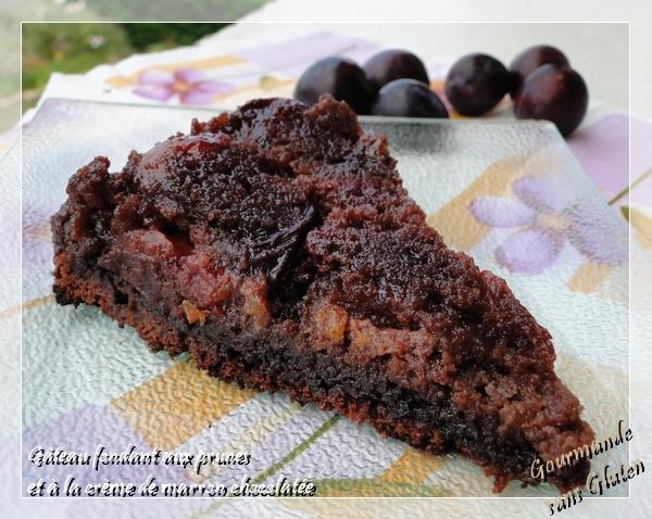 Gâteau fondant aux prunes et à la crème de marron