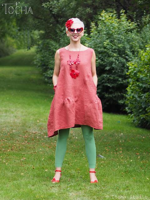 coral, terracotta, dress, peony, Vogue, sewing pattern, linen, flax, Polski Len, Len & Blen, len, natural fibre, ethical fashion, washpapa, A line dress, seamstress, summer dress,