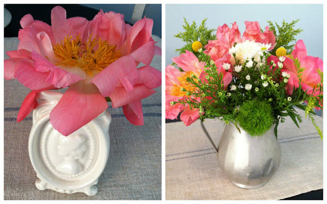 DIY peony wedding centerpieces