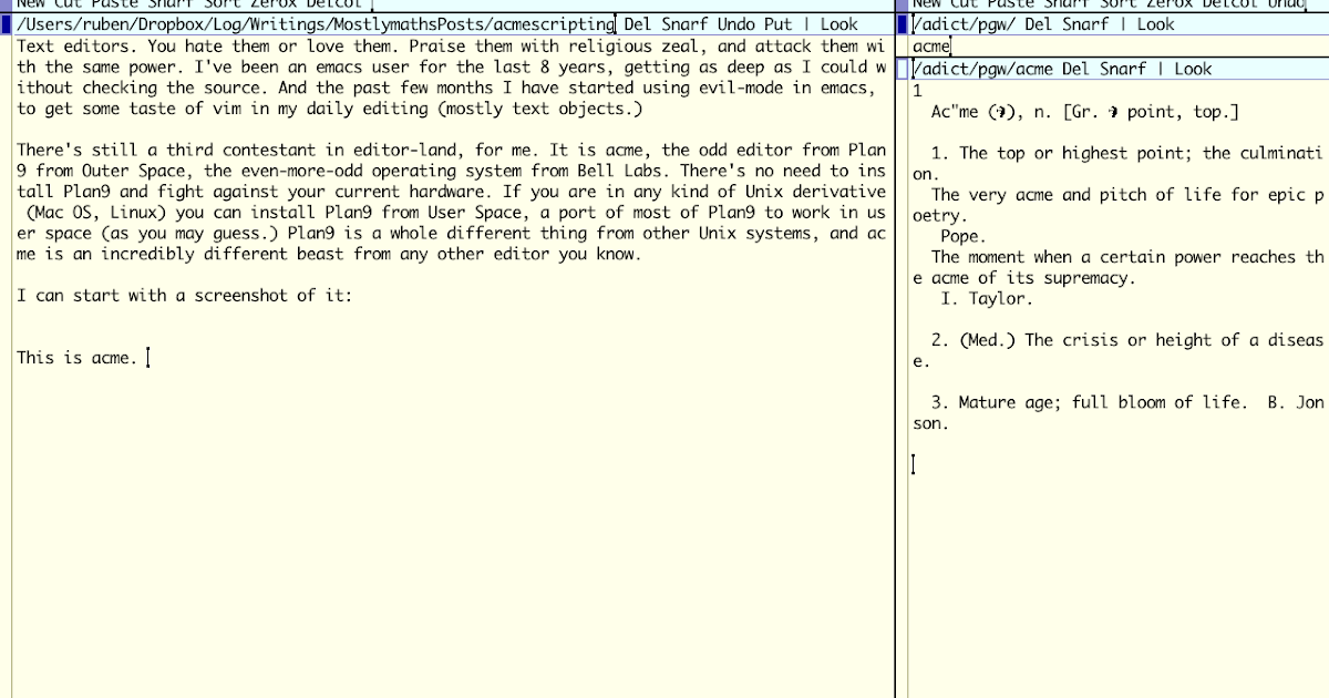 Mostly Maths: Extensibility in the Acme text editor