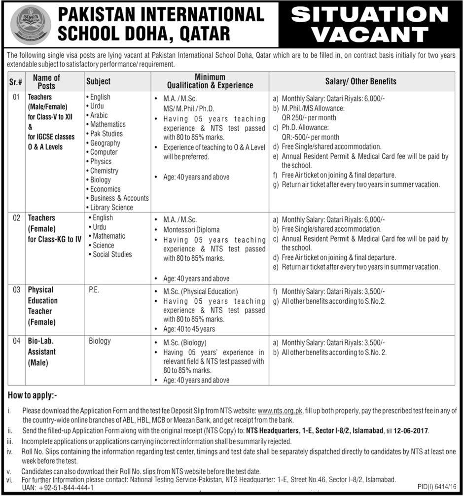 Teacher Jobs In Pakistan International School Doha May 2017