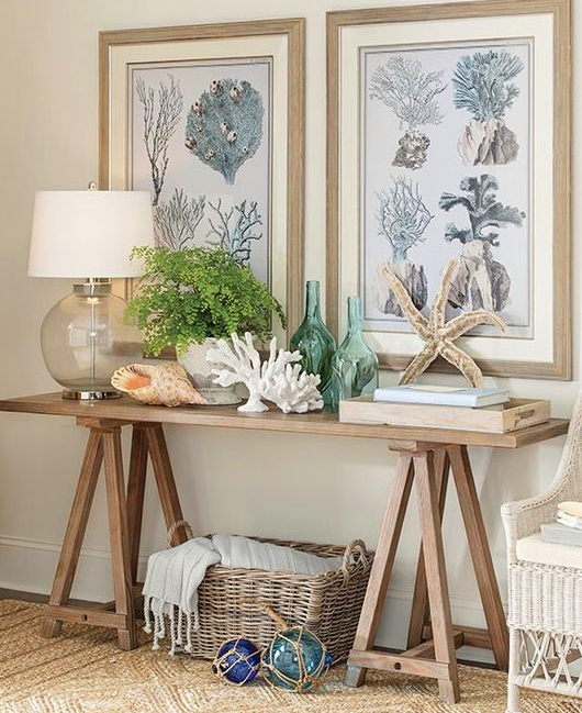 Sawhorse Console Table with Coastal Styling