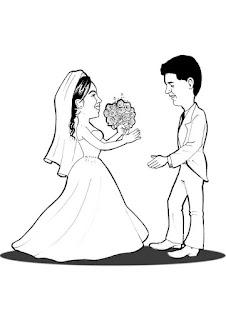 caricatura preto e branco de noivos