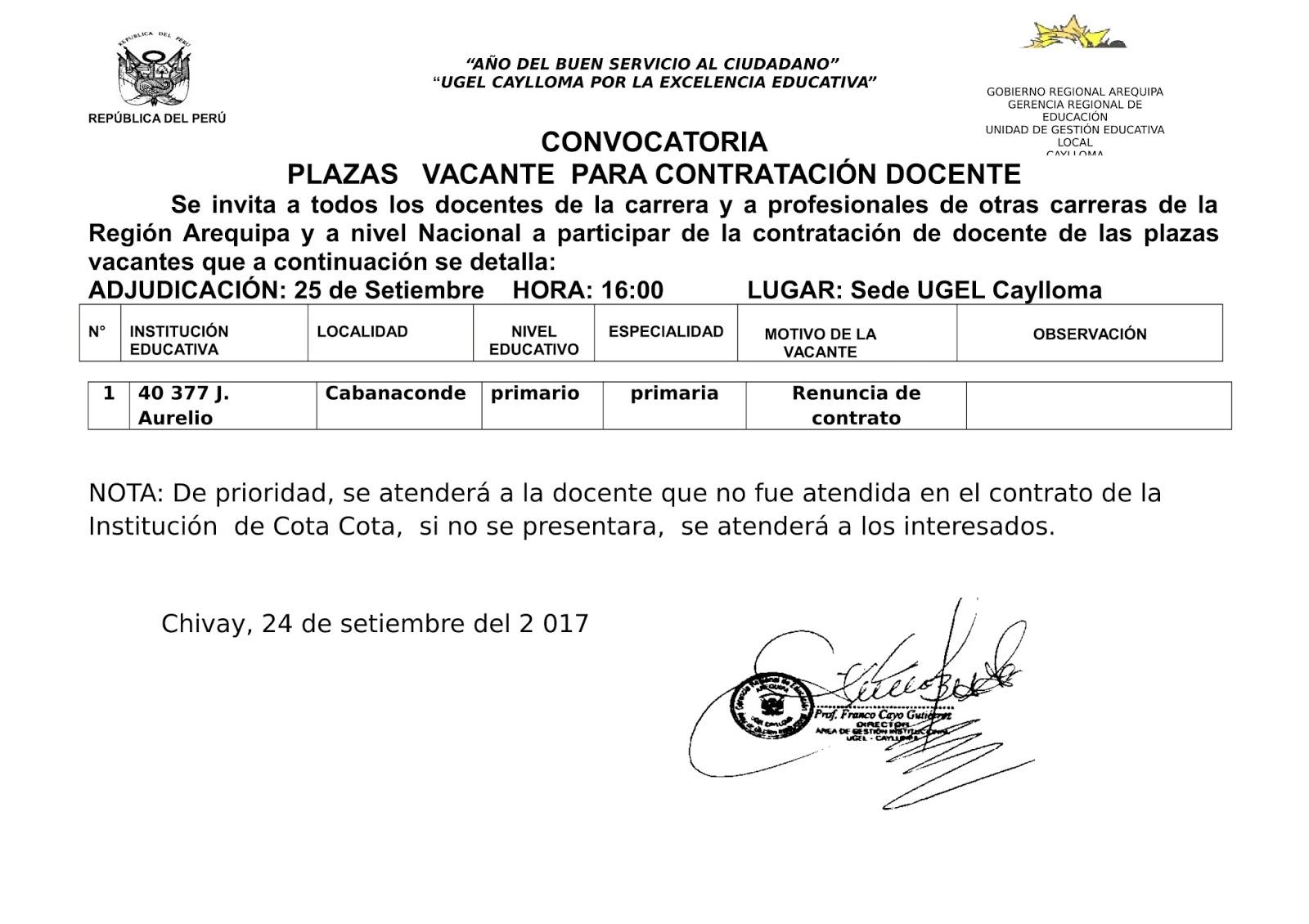 Convocatoria de contrataci n docente cabanaconde ugel for Convocatoria docente