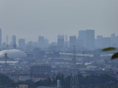 四條畷神社から大阪の町並みを眺める