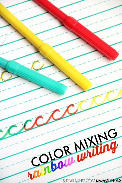 Color mixing rainbow writing activity for helping kids with letter formation
