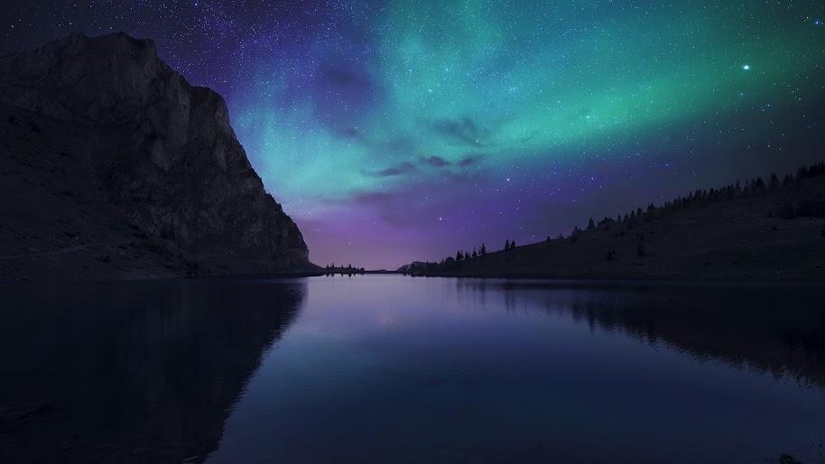 Aurora Borealis Night Sky Stars Lake Nature Scenery 4k