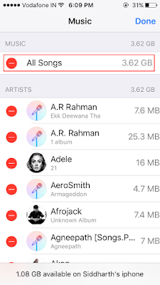 Delete all the songs from your iPhone