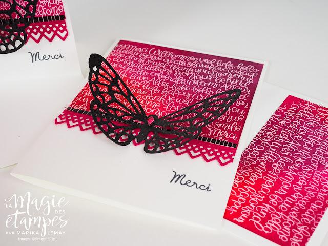 Cartes créées avec l'Étampe Handwritten et les thinlits Impression printanière et Dentelle délicate