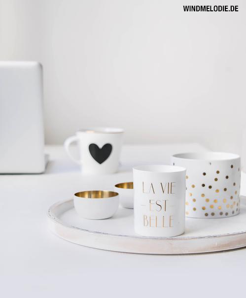 Miss Etoile Tasse Herz schwarz Teelichter gold weiß